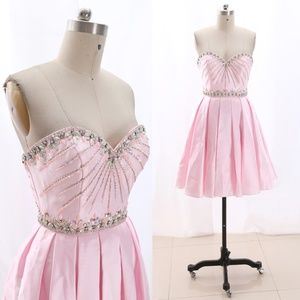 Strapless Satin Pink Short Prom Homecoming Dress